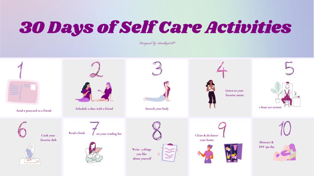 Self-Care Activities Calendar page 1