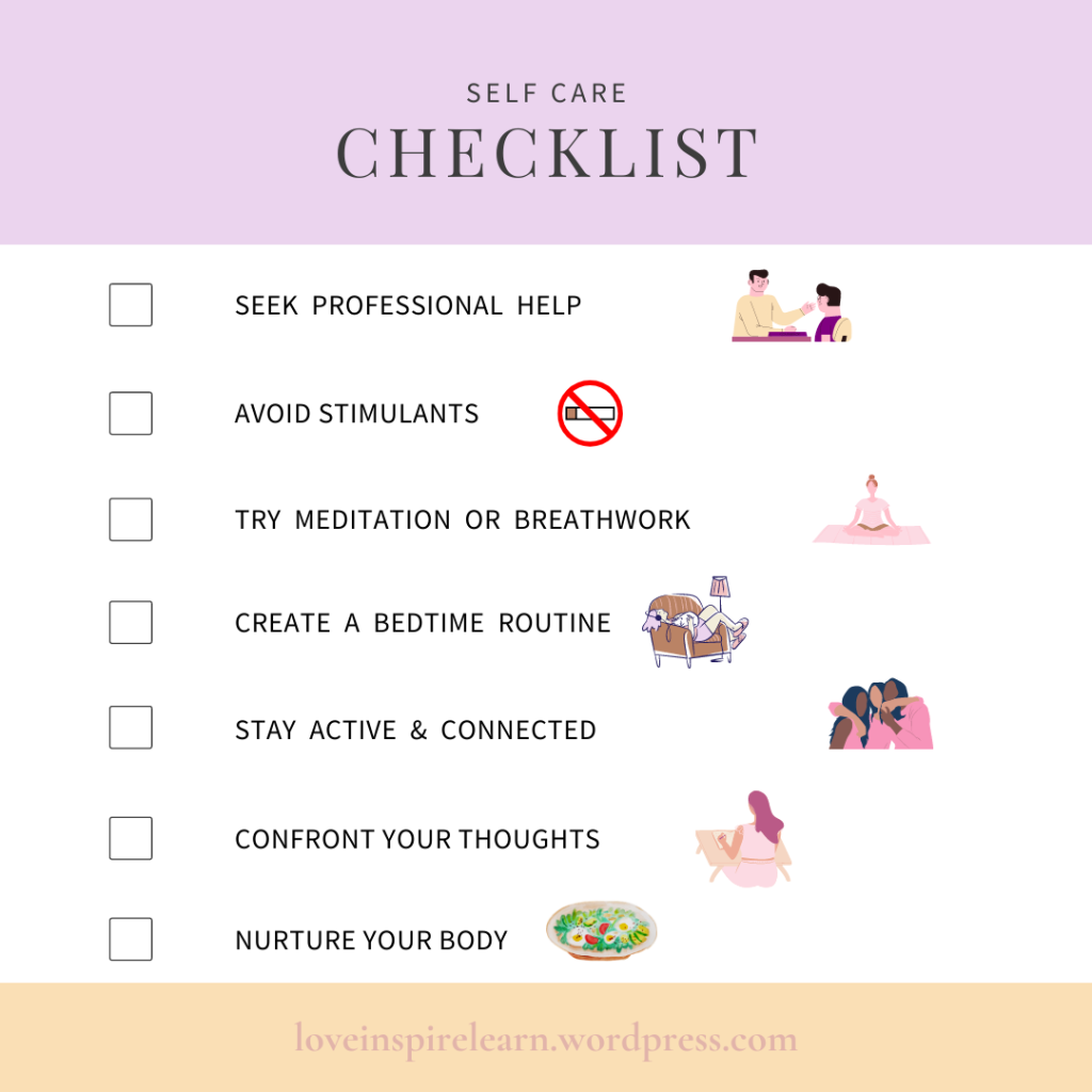 Self Care Checklist for Anxiety
